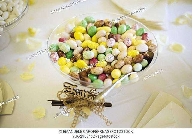 Sweet almond confetti for wedding party. Italy