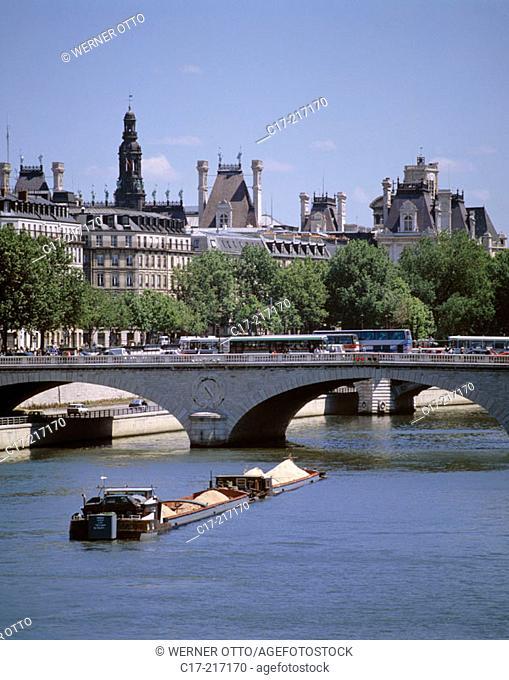 Saint-Michel Bridge on Seine River. Paris. France