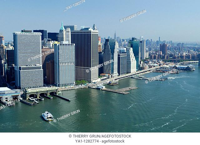 Aerial view of Financial district, Lower Manhattan, New York city, USA