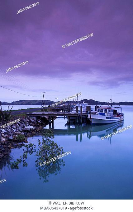 New Zealand, North Island, Coromandel Peninsula, Coromandel Town, commercial wharf, dawn