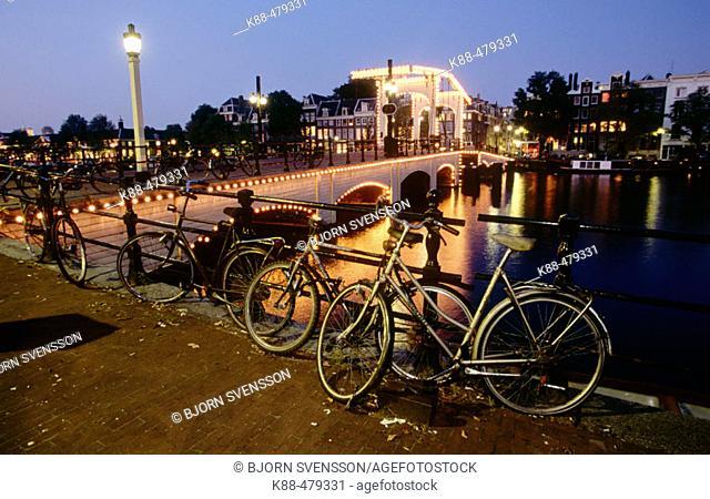 Bicycles. Skinny Bridge. Amsterdam. Netherlands