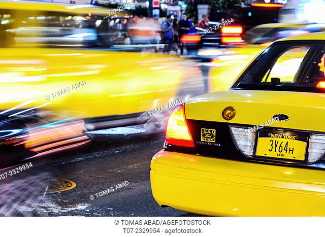 Yellow Taxi on Broadway and 34th Street Herald Square, Midtown Manhattan, New York City, USA