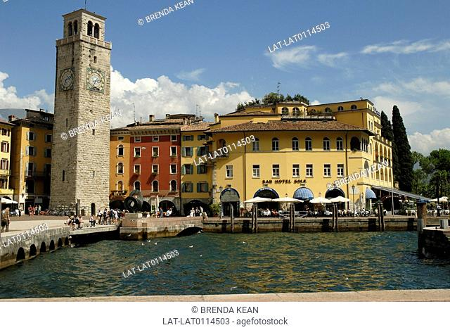 Riva del Garda is a resort town at the north-western corner of Lake Garda. There is a tall clock tower and lookout on the waterfront promenade