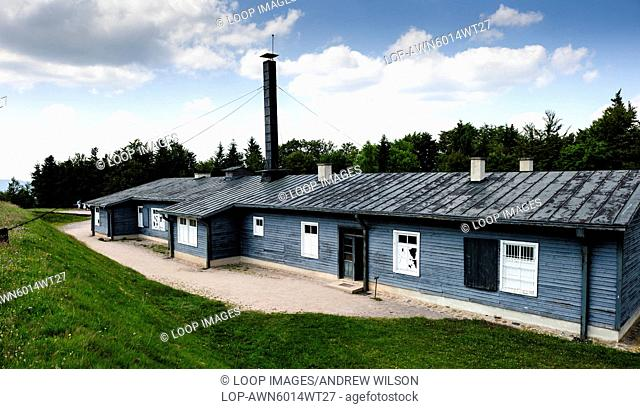 Building containing experimentation room and cremetoria at the Natzweiler-Struthof German concentration camp located in the Vosges Mountains close to the...