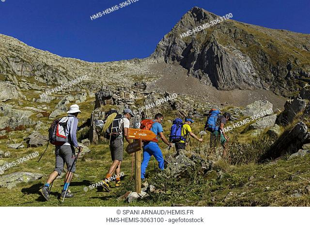 France, Ariege, Saverdun, Refuge mountain hut of Estagnous, mountain group
