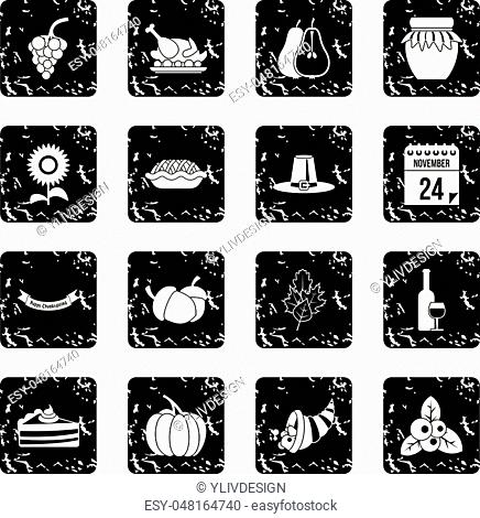 Thanksgiving icons set icons in grunge style isolated on white background. Vector illustration
