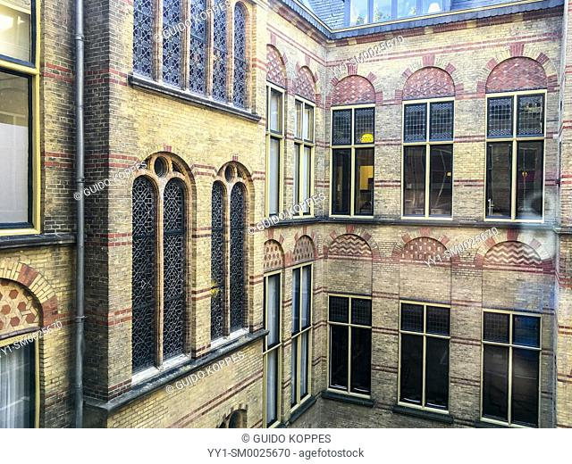 Utrecht, Netherlands. View on a courtyard from the first / second floor of the court building