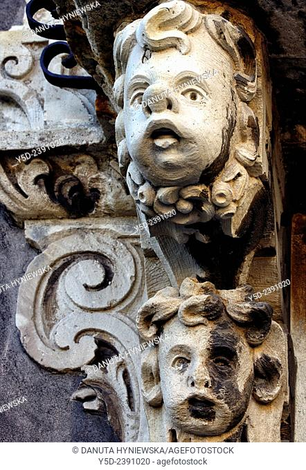 Architectural detail, Monastery of San Nicolò l'Arena, Benedictine Monastery of Catania, Sicilian late Baroque architecture style - UNESCO World heritage list