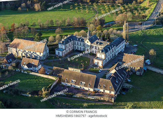 France, Eure, Conches en Ouche, the hospital, a former Benedictine abbey dated 11th century (aerial view)