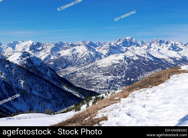 snowy landscape of Montgenvre in the high Alps in winter, france