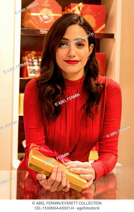 Emmy Rossum at a public appearance for Godiva And Toys For Tot's Hot Chocolate For A Cause National Charity Program Kick Off, GODIVA Chocolatier, New York