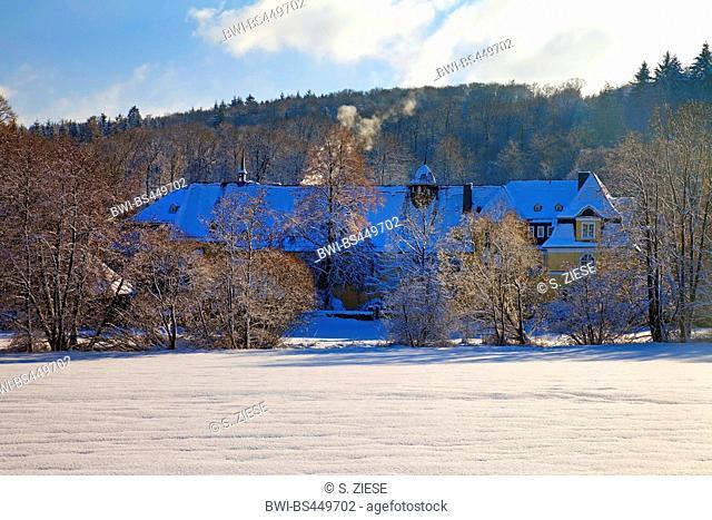 monastry Keppel in winter, Germany, North Rhine-Westphalia, Siegerland, Hilchenbach