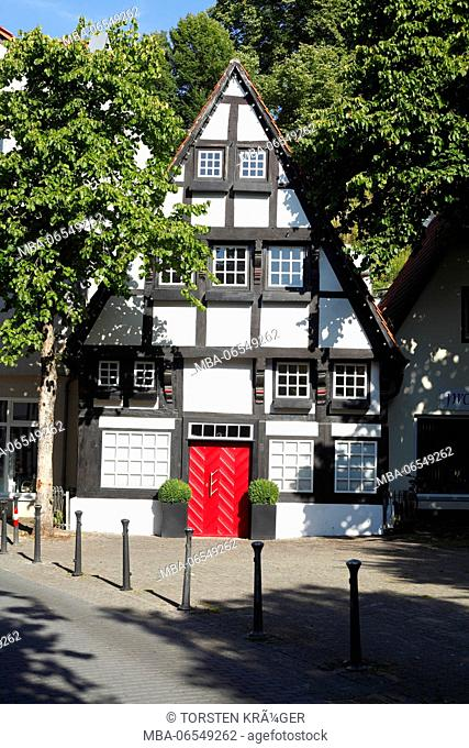 Half-timbered house at the Vitihof in the old town, Osnabrück, Lower Saxony, Germany, Europe