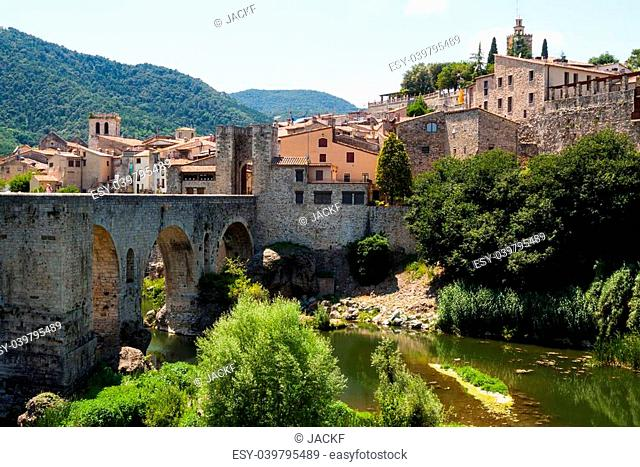 Antique medieval town with old bridge. Besalu, Catalonia