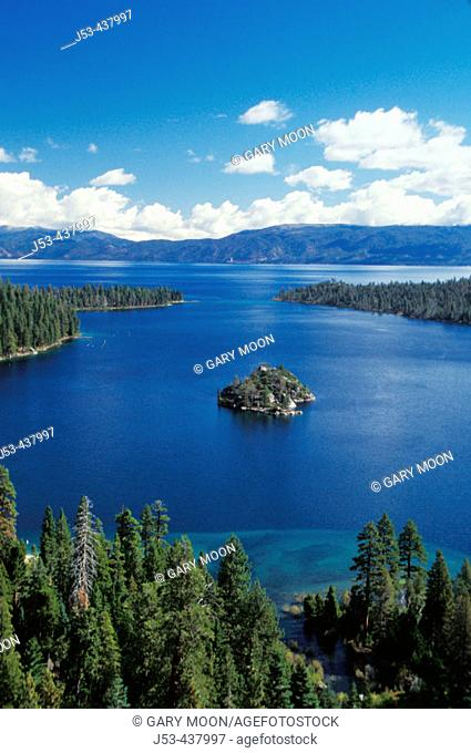 Emerald Bay and Fannette Island on west side of Lake Tahoe, California, with Nevada in distance