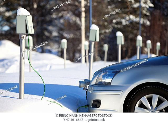 Outdoor power outlets used to deliver electricity to electric car motor heater. Oulu, Finland