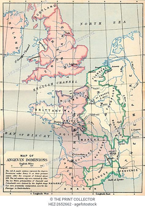 'Map of Angevin Dominions', 1902. From Social England, edited by H.D. Traill, D.C.L. and J. S. Mann, M.A. [Cassell and Company, Limited, London, Paris