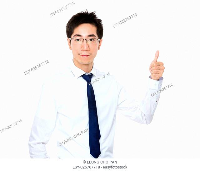 Businessman showing finger pointing up