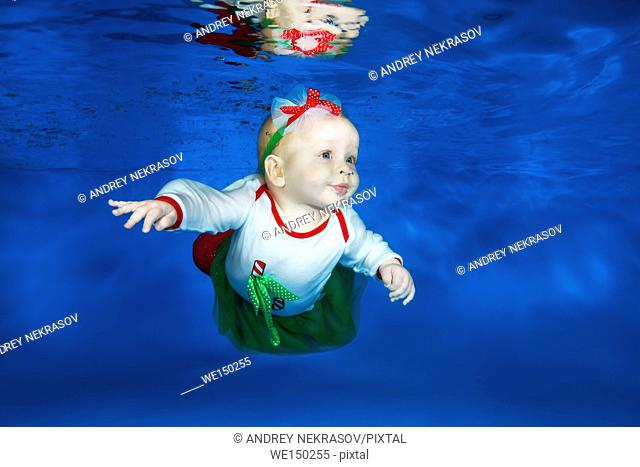 tiny learns to swim underwater in the pool