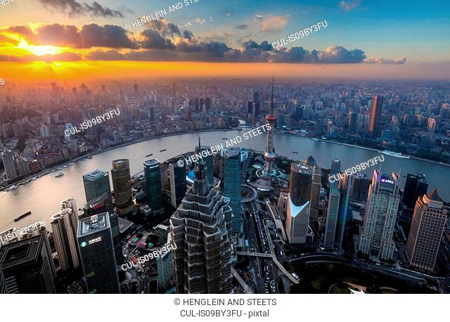 Pudong skyline and Huangpu river at sunset, high angle view, Shanghai, China