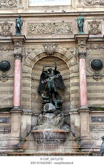 Fountain Saint-Michel in Paris, France
