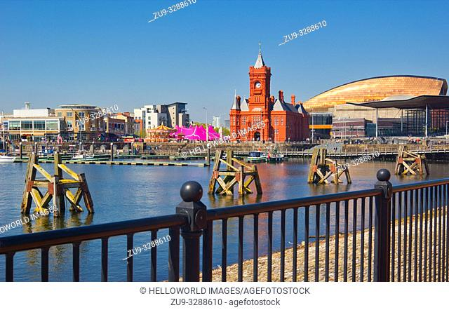 Cardiff Bay with landmarks. National Assembly for Wales, Pierhead building and the Wales Millennium Centre, Cardiff, Wales, United Kingdom