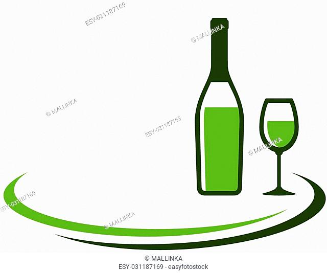 background with white wine bottle and glass and place for text