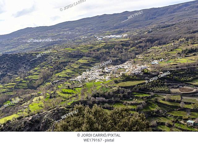 The Alpujarra, Andalusia, Spain: View of white villages staggered in the high mountains of the Alpujarra of Granada