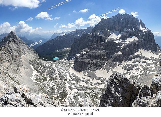 Sorapiss, Dolomites, Veneto, Italy. View from the Punta Nera on the Sorapiss Lake