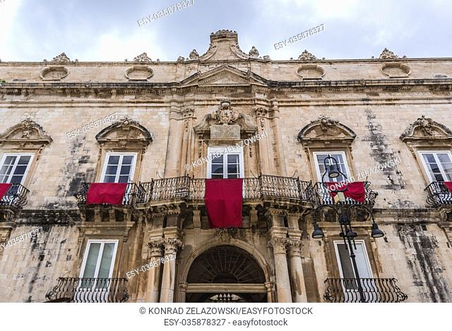 Beneventano del Bosco townhouse at Cathedral Square (Piazza del Duomo) on Ortygia island, historical part of Syracuse city, Sicily Island, Italy