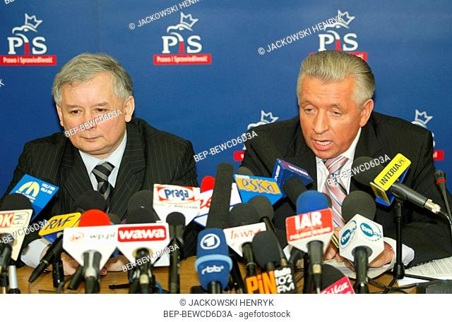 13.04.2006 Andrzej Lepper and Jaroslaw Kaczynski at the press conference. Warsaw, Poland