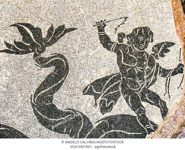 Detail of Mosaic floor, Ruins of the Baths of Caracalla (Terme di Caracalla), Thermae Antoninianae , one of the most important baths of Rome at the time of the...