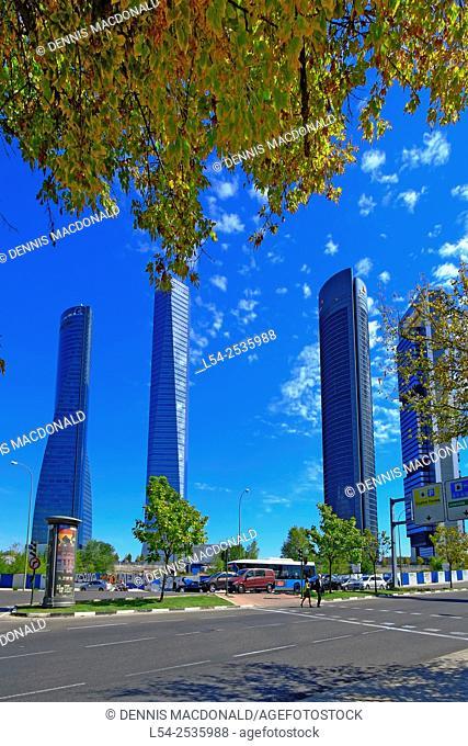 Cuatro Torres Towers Madrid Spain ES from Parque Norte