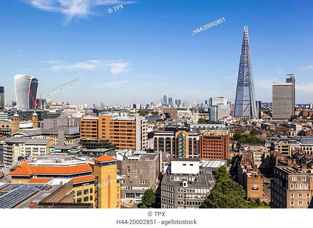 England, London, View of Southwark and The Shard from Tate Modern