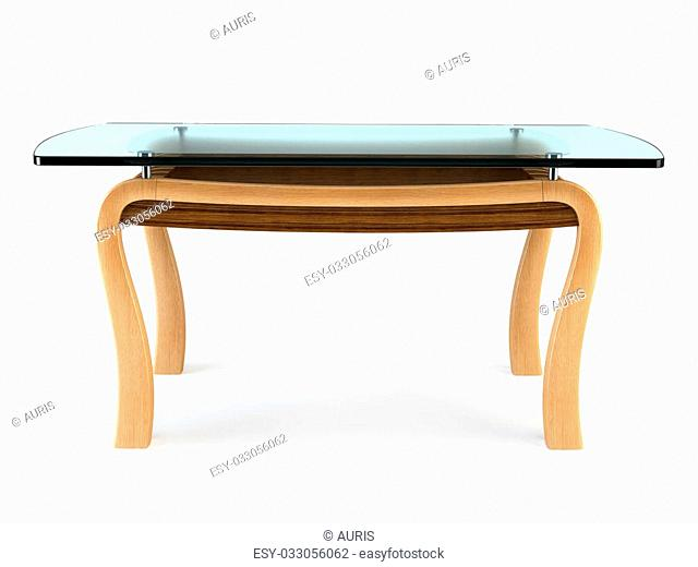 modern dining glass table 3d rendering