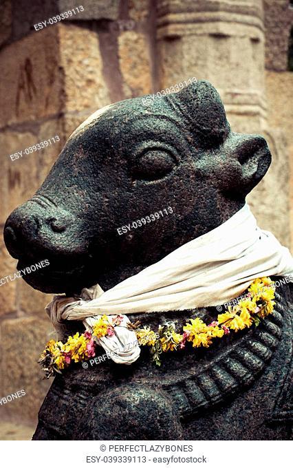 Statue of Nandi Bull at Gangaikonda Cholapuram Temple. South India, Tamil Nadu, Thanjavur (Trichy)