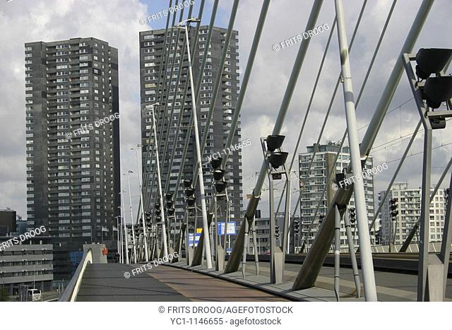 block of flats on the embankment of the Maas, Rotterdam, Holland