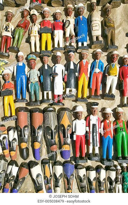 Brightly colored wooden Colonial Dolls in Cape Town, South Africa