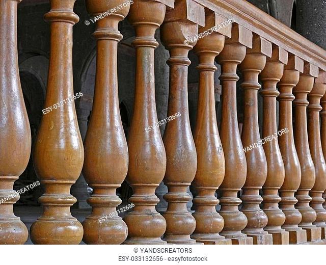 Wooden Railing with pillars at Indore Palace, Indore, Madhya Pradesh, India