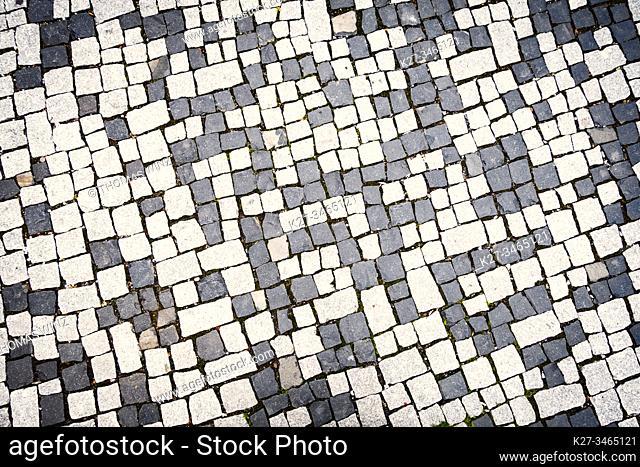 Black and white cobblestone pattern
