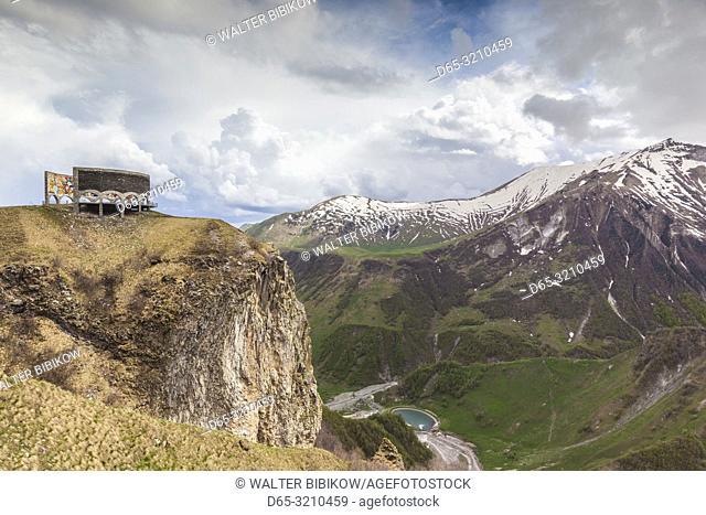 Georgia, Georgian Military Highway, Kobi, Soviet-era Caucasus Mountains Monument