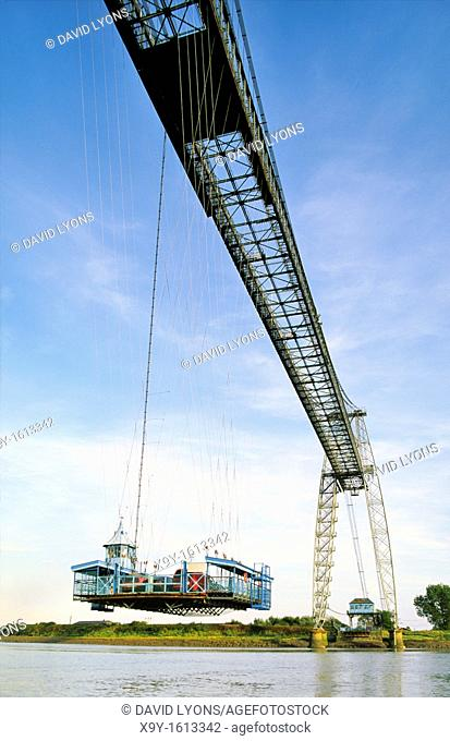 The Transporter Bridge, built 1906, carries vehicles and passengers over the River Usk in city of Newport in south Wales, UK