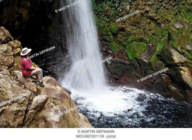 Costa Rica, Guanacaste, Rincon de la Vieja, Hacienda Guachipelin, View of waterfall