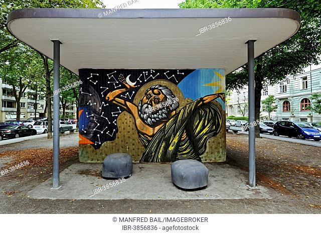 Graffiti of God, Schwabing, Munich, Upper Bavaria, Bavaria, Germany