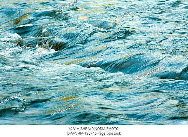 Creative curve and form flow of river water ; Sanjay Gandhi National Park ; Borivali ; Bombay Mumbai ; Maharashtra ; India