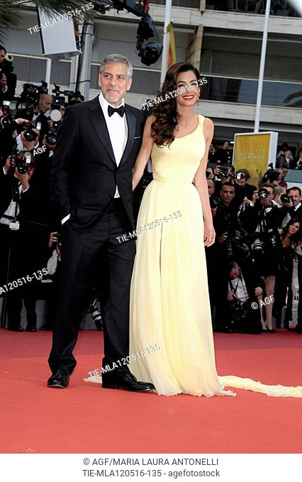 12/05/2016 69 Festival di Cannes. Red carpet del film Money Monster. Nella foto George Clooney con la moglie Amal Alamuddin