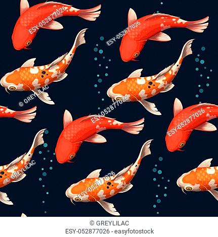 Varicolored floating koi carps vector seamless background