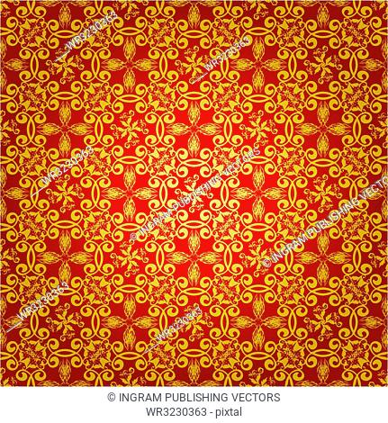 Wallpaper design in red and gold that seamlessly repeats