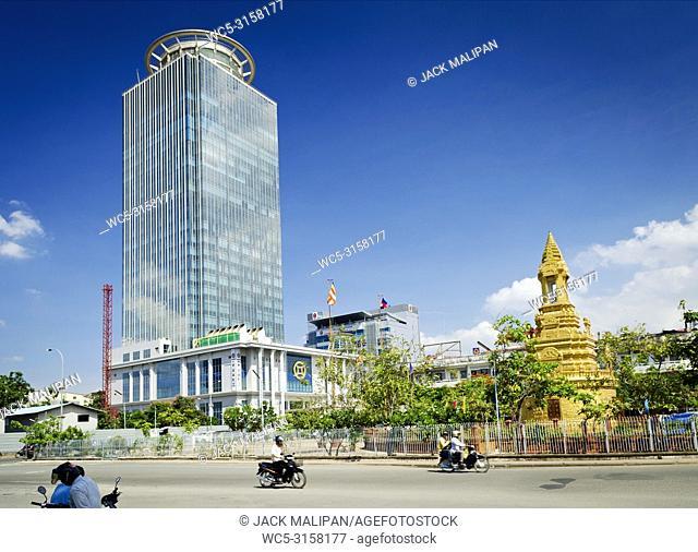 Canadia Bank tower modern architecture building skyscraper in central phnom penh city cambodia