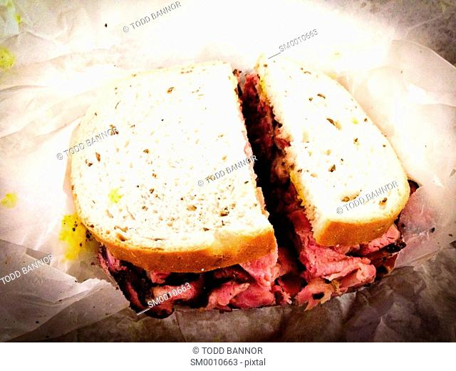 Pastrami on rye bread sandwich